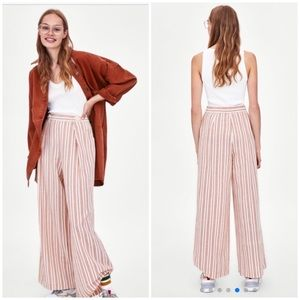 NWT Zara Striped Palazzo Wide Leg Cotton Trousers